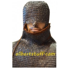 Chain Mail Shirt Large Flat Rivet with Flat Solid Ring Shirt, Integrated Coif & Ventail