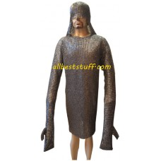 Chain Mail Shirt with Integrated Coif & Mittens and Legging Set 8mm