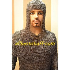 Chain mail Shirt & Coif Set Full Flat Riveted 8mm Rings