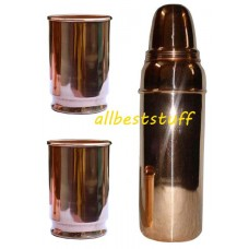 Copper Water Bottle and Copper Glass Set