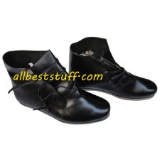 Medieval Leather Shoes Black Ankle Shoes