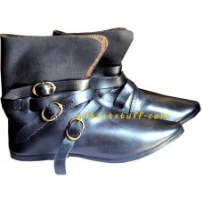 Medieval Leather Shoes Three Brass Buckle