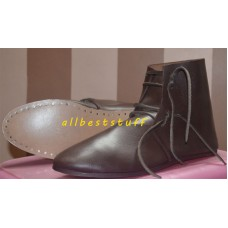 Medieval Leather Shoes Brown Ankle Shoes