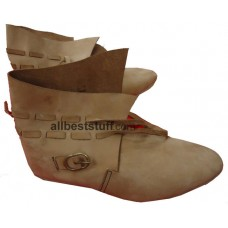Medieval Leather Shoe Rough Brown Buckle