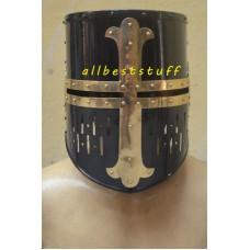 Medieval Crusader Helmet Black Finish with Brass Cross 16 Gauge