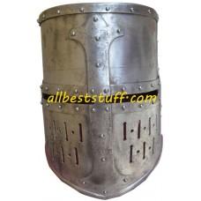 Strong 16 Gauge Medieval Crusader Helmet Raw Finish